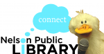 Duck with microphone and Library Connect logo